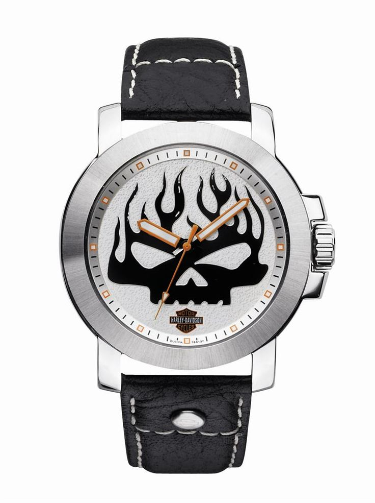 17 best images about harley davidson bikes harley mens harley davidson stainless steel leather willie g skull watch by bulova 76a137