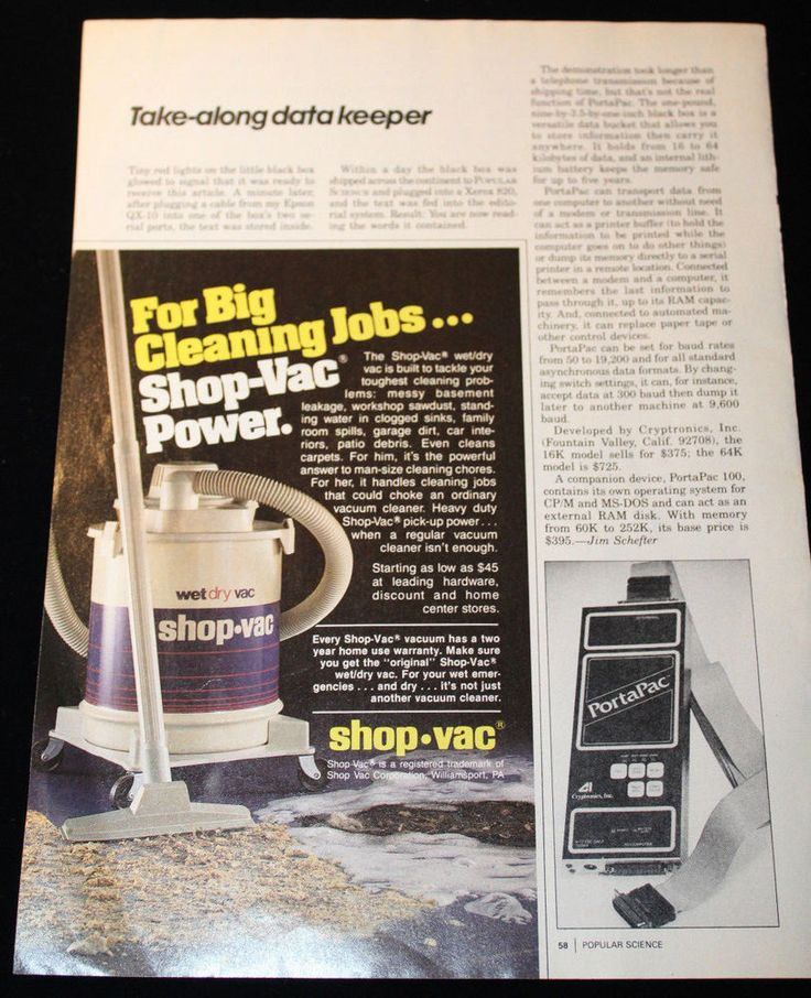 1984 Shop-Vac Wet Dry Vacuum Print Advertisement 5x7.75 Popular Science #ShopVac