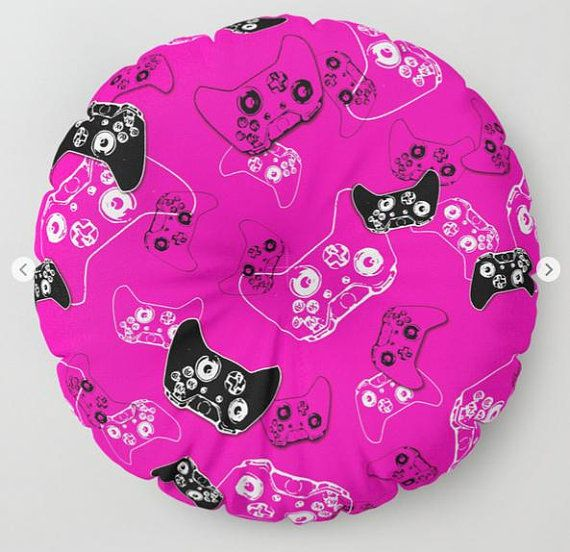 Girl Gamer Floor Pouf, Floor Pillow Seating, Video Game Pillow, Gamer Pillow, Pink Gamer Room, Gamer