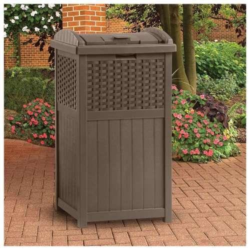 Wicker-Trash-Can-Resin-Home-Outdoor-Patio-Garden-Decor-Garbage-Waste-Bin-Deck-US