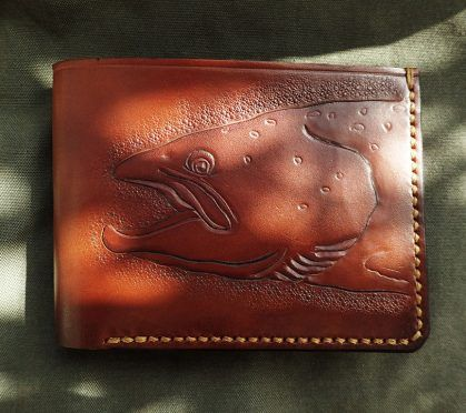 Leather carved salmon wallet