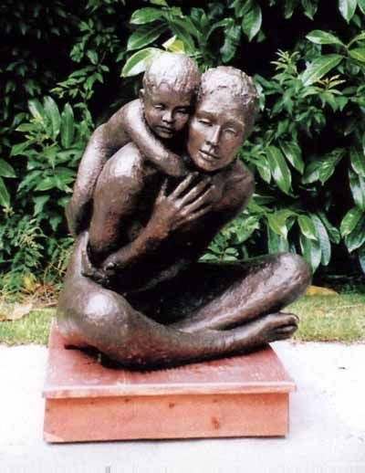 A sculpture titled 'The Necklace (bronze Lifesize Mother and Child/Infant/Toddler Love statue)' by artist Gill Brown in the category Garden Or Yard / Outside and Outdoor Sculptures