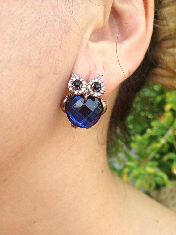 Earring, Owl Earrings, Dark Blue Earring, owl jewelry, Owl, Brass Owl, Brass Earring, gift for here