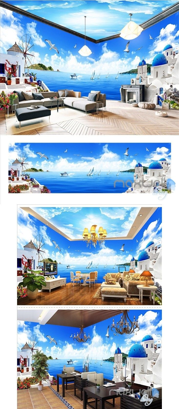 Mediterranean style theme space entire room wallpaper wall mural decal IDCQW-000010