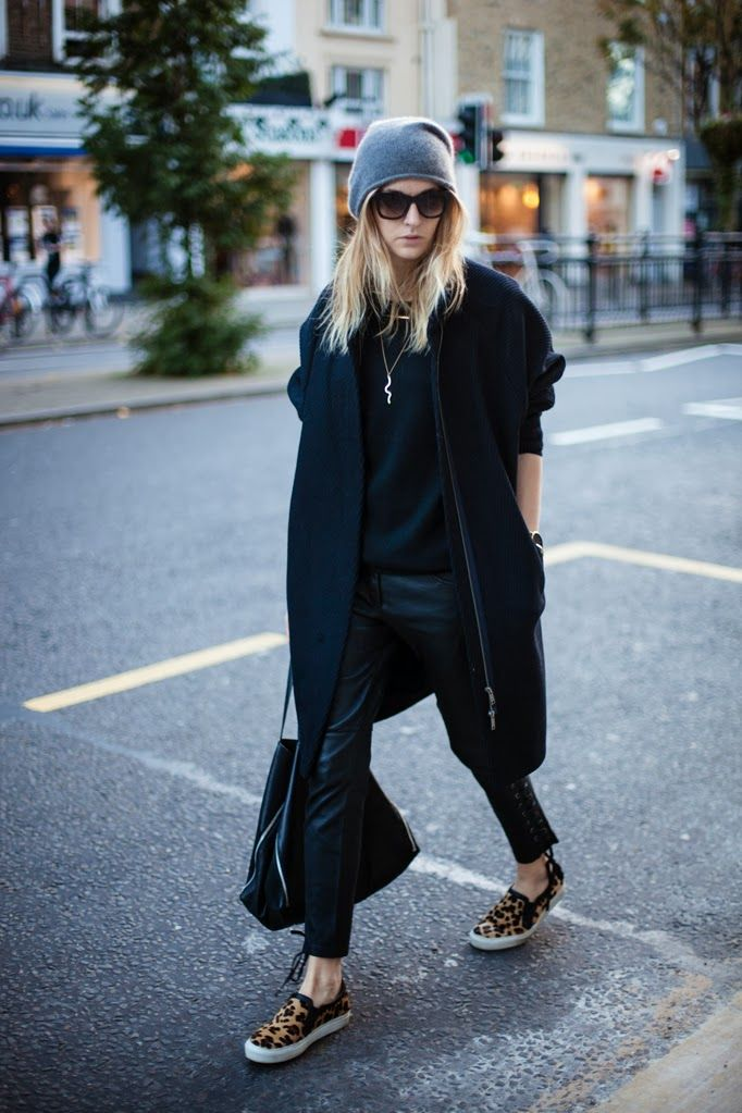 Coat: COS || Sweatshirt: J Brand || Leather pants: Isabel Marant pour H&M || Slip ons: Sandro || Bag: Celine || Sunnies: Jimmy Choo