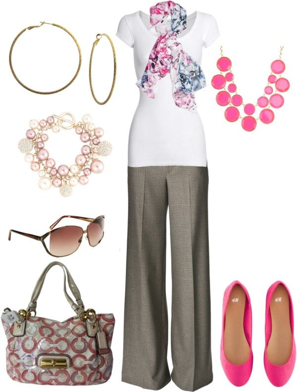 greige trouser pants, white blouse, pink/teal scarf,pink bauble necklace, hot pink flats, gold accesories, greige tote