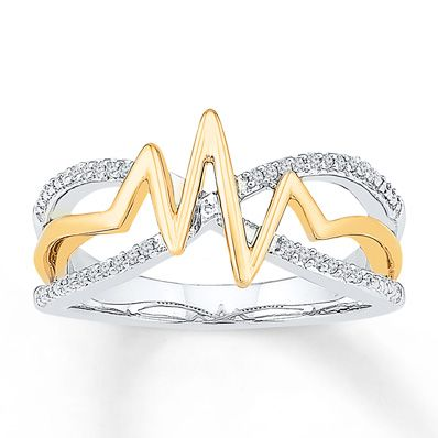 Heartbeat Ring 1/15 ct tw Diamonds Sterling Silver/10K Gold