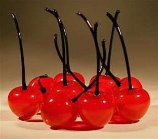 Ten antique venetian Murano glass cherries