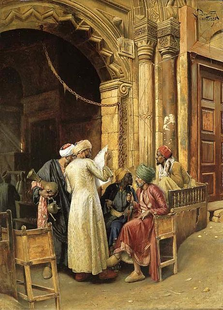 Ludwig Deutsch (1855-1935) - 1885 A Gathering Around the Morning News, Cairo