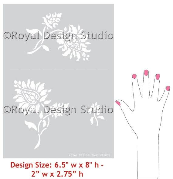 Wall stencils oriental brocade elements royal design studio decor ideas pinterest - Oriental stencils for walls ...