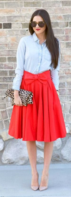Red Midi + Chambray Shirt