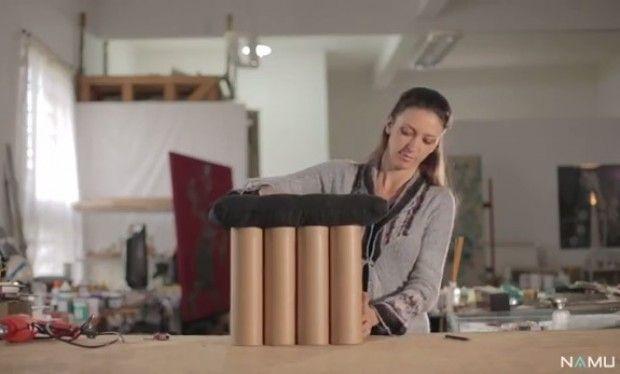 Aprenda a fazer um banquinho com tubos de papelão reaproveitados