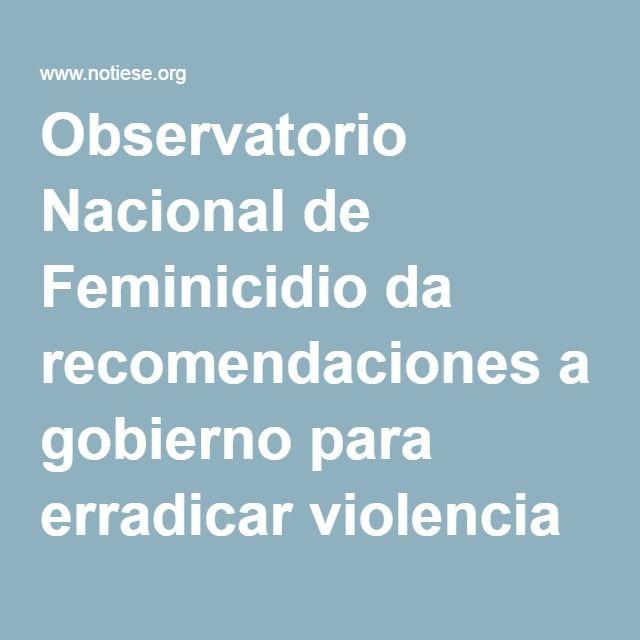 Observatorio Nacional de Feminicidio da recomendaciones a gobierno para erradicar violencia feminicida