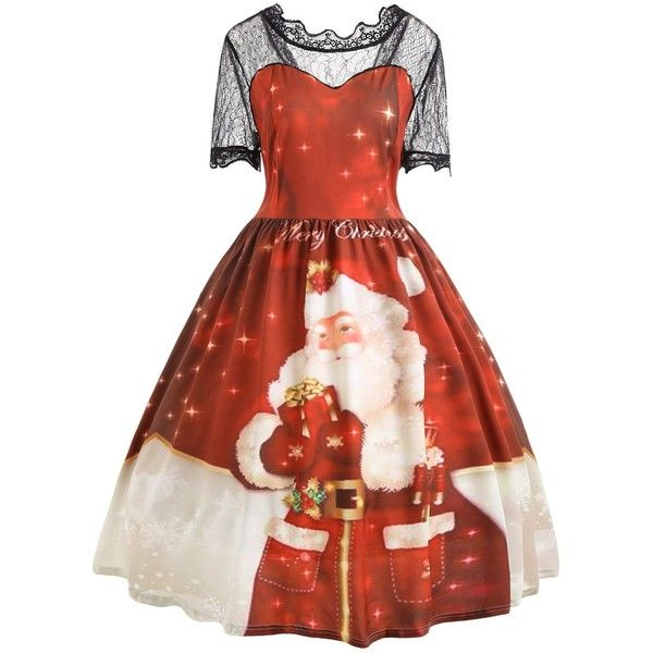 Red 5xl Lace Merry Christmas Santa Claus Plus Size Dress ($15) ❤ liked on Polyvore featuring dresses, plus size christmas dresses, plus size red dress, christmas day dress, lace dress and womens plus dresses