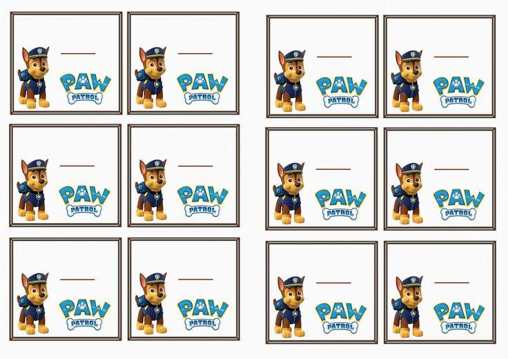 Paw Patrol Name Tags Themed Name Tags Free Printables