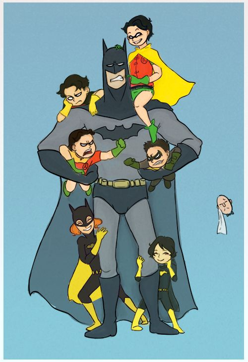 batfam love! Imagine the chaos in the cave if they were all around the same age! Too many god damn bat-kids by Beckx.deviantart.com on @DeviantArt