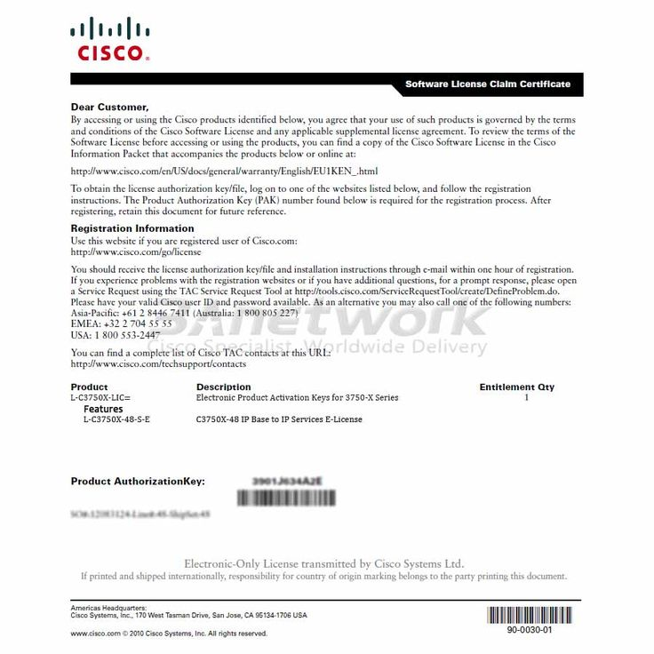 L-C3750X-48-S-E Cisco Catalyst 3750X E-License, Cisco L-C3750X-48-S-E Price and Specification, 3Anetwork.com wholesales Cisco Catalyst 3750X Ethernet Switch and License, C3750X-48 IP Base to IP Services E-License, ship L-C3750X-48-S-E to worldwide.