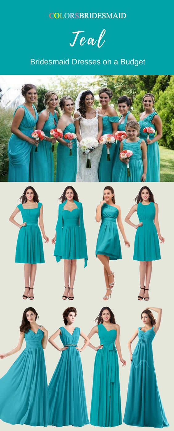 These Teal Color A Combining Green And Blue Short Long Bridesmaid Dresses Are Made Of High Quality Chiffon Fabric Can Be Custom To All