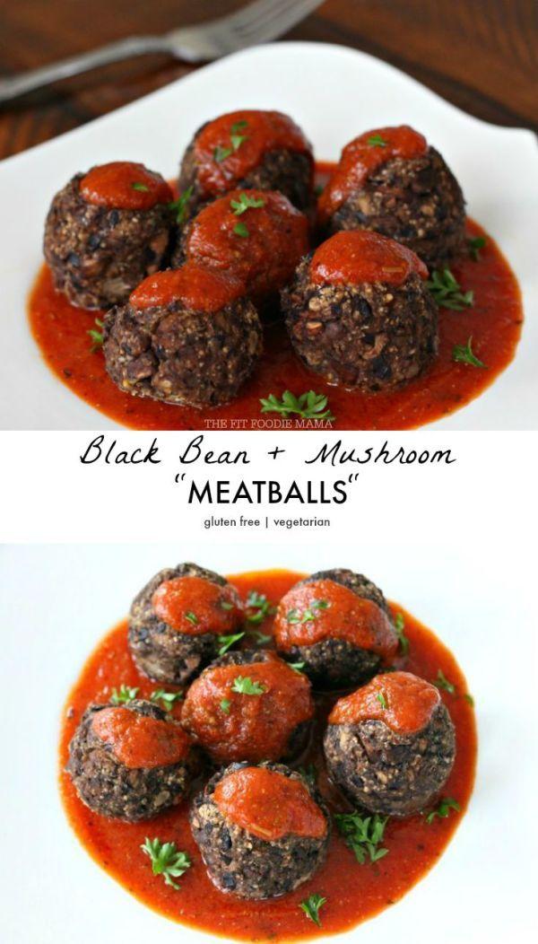 "Black Bean + Mushroom ""Meatballs"" Recipe {gluten free, meatless, vegetarian, dairy free}"