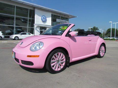 Pink Volkswagen Beetle Convertible