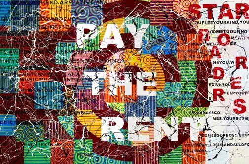 An image of Pay the rent by Richard Bell2009 Media category Painting Materials used synthetic polymer paint on canvas Dimensions 240.0 x 360.0 cm © Richard Bell courtesy Milani Gallery