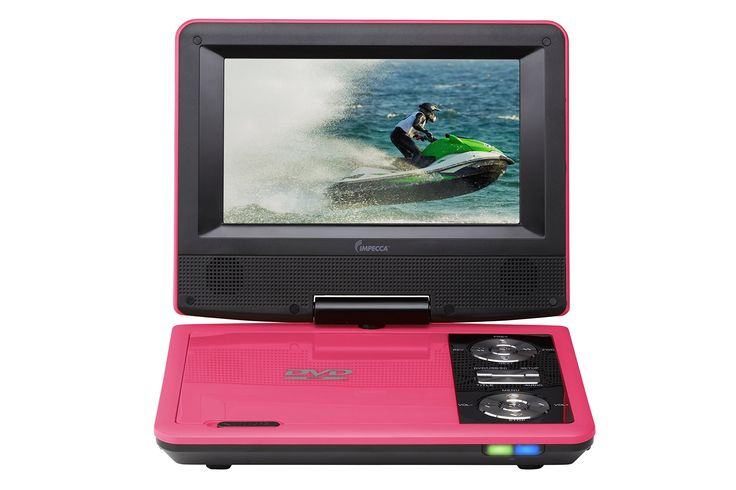 Impecca DVP775P 7 Inch Swivel Screen, Portable DVD Player, with Rechargeable Battery, SD Card Slot and USB Port, Pink