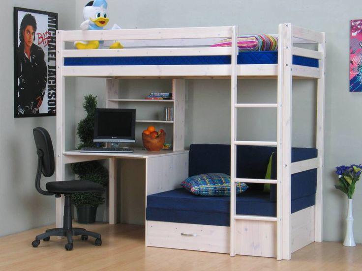 Hoogslaper wit met bureau, bank en kussenset blauw Thuka, bank onderin is meteen ook extra bed