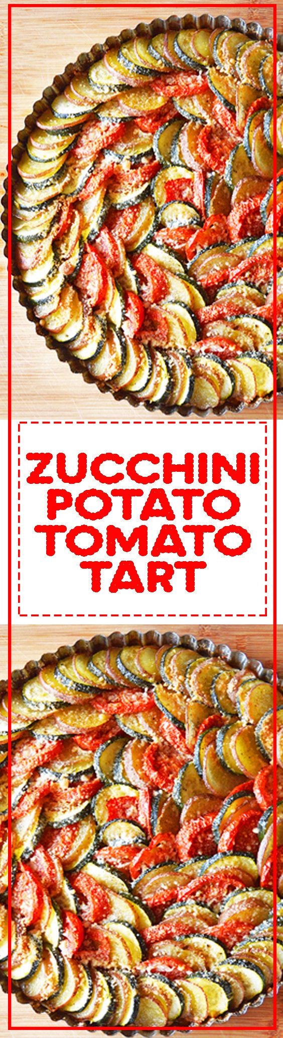 Zucchini Potato Tomato Tart - If you want a delicious way to get your veggies, this vegetarian tart is your perfect meal. Easy and simple weeknight dinner