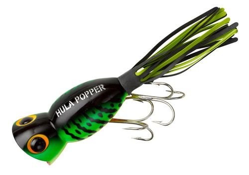 Arbogast Hula Popper G760: Fire Tiger The legendary Arbogast Hula Popper is as deadly on bass, pike and other gamefish today as it was when it first hit the market more than 60 years ago. The Hula Popper's pulsating skirt makes the difference – even during the pause it moves like something alive – a killer action that results in vicious topwater strikes. The Hula Popper gives every big fish within hearing distance a wake-up call they'll never forget.