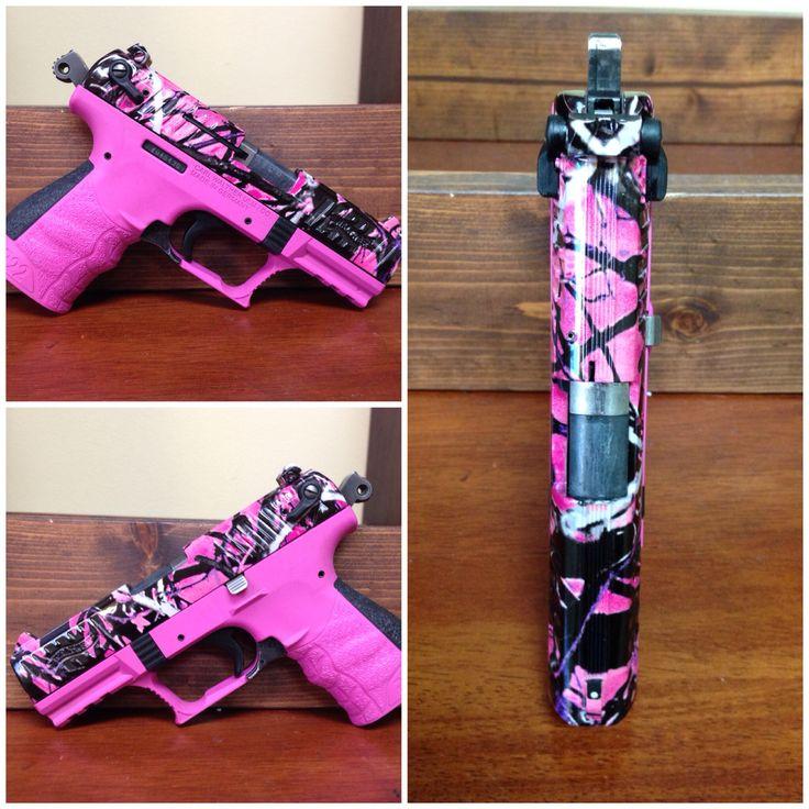 Walther P22. Prison Pink Cerakote and Muddy Girl Camo