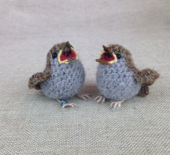 Baby house sparrow crochet sculpture by FreshlyKnittedThings