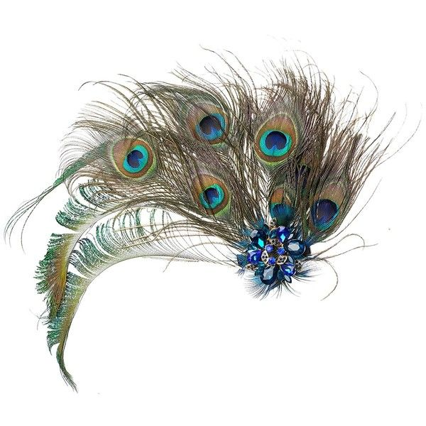 1920s Peacock Feather Costume Hair Clip Flapper Headpiece Hat... ($15) ❤ liked on Polyvore featuring accessories, hair accessories, 1920s hair accessories, gatsby hair accessories, barrette hair clip, 20s hair accessories and peacock hair clips