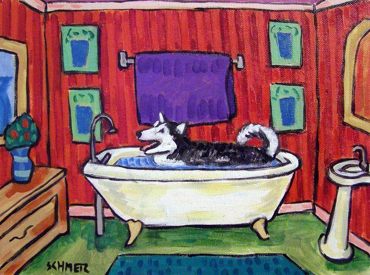 MALAMUTE DOG art PRINT abstract folk pop ART JSCHMETZ 13x19 bathroom bather #Impressionism