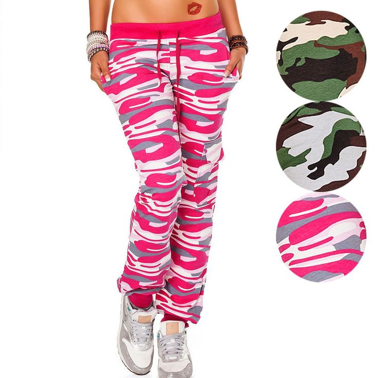 Damen Hose Sporthose Jogginghose Freizeithose Camouflage in 3 Farben Gr. S-XXL | eBay