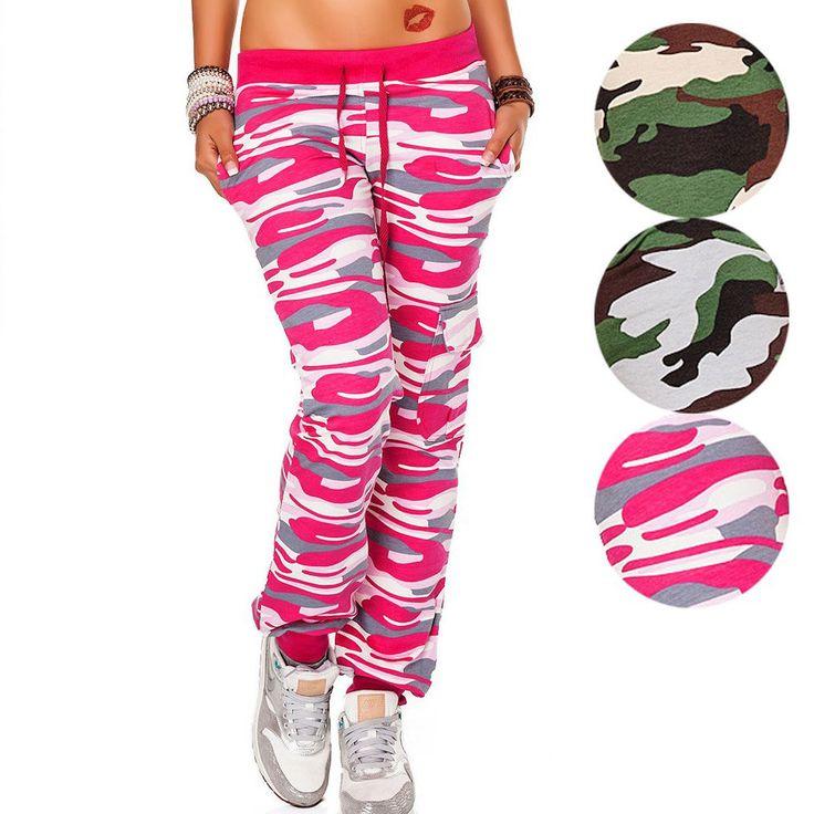 Damen Hose Sporthose Jogginghose Freizeithose Camouflage in 3 Farben Gr. S-XXL   eBay