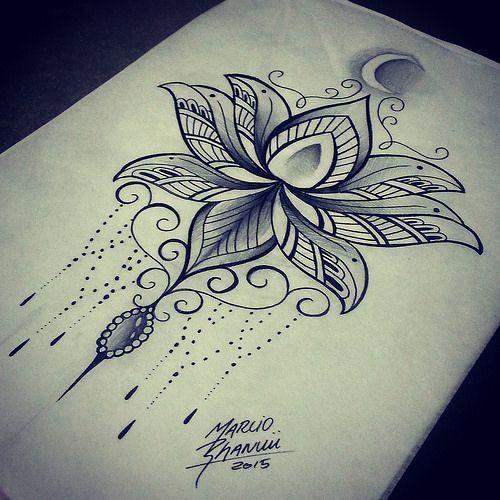 Image result for lotus flower back tattoo