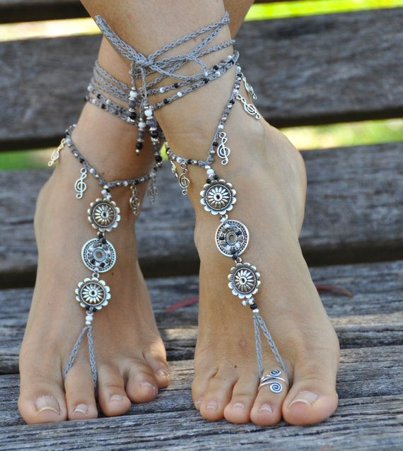 MUSICA MANDALA sandali a piedi nudi piedi gioielli Hippie