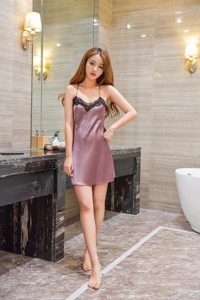 e3b3fd91f2f6 Women Nightgowns Sexy Lace Satin Sleepwear Nightdress Home Wear Summer Sexy  Backless Sleep Lounge Night Dress Silk Nightwear