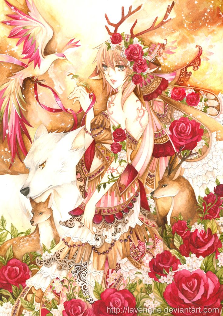 anime girl with animals