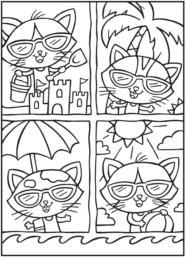 Owls Coloring Book Sample Pages Dover Publications Cool Cats By Noelle Dahlen Sheetscoloring