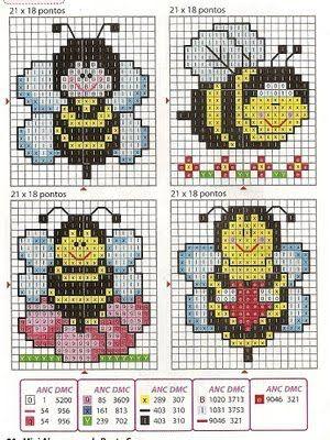 Lindas abelhinhas para bordar ponto cruz com o gráfico. As abelhas ficam fofas bordadas em toalhas, mantas, e fraldinhas de bebês.