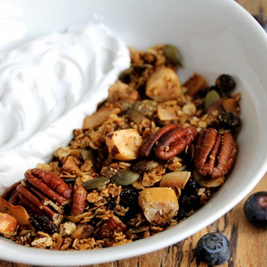 Gluten & Sugar Free Brazil nut, pumpkin seed and coconut Granola. The perfect breakfast along side my raw coconut yoghurt recipe! Delicious!