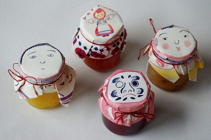 """jams / """"だるま""""や""""こけし"""" などのイラスト付きのtorajam(トラジャム) イラストはtorajamことtora自ら描いたものです。プレゼントに最適"""