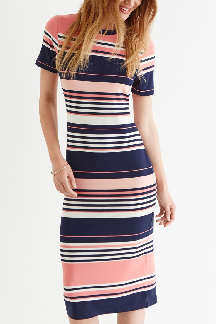 Pink Candy Stripe Tube Midi Dress.