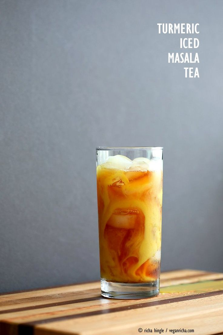 Cardamom Cinnamon Turmeric Iced Tea. Spiced Iced tea like Thai Iced tea with turmeric coconut milk and Indian masala chai spices and ginger. Golden Milk Iced Tea. Vegan Gluten-free Soy-free Recipe   VeganRicha.com