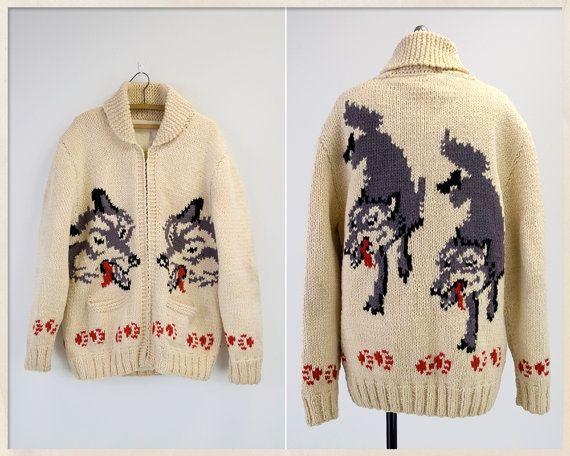 AMAZING vintage 50s cowichan sweater // 1950s by FoxandBearVintage, $440.00