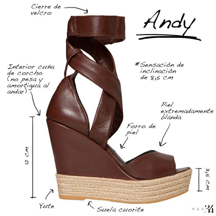 Infografía de las cuña de piel marrón chocolate Andy Mas34 http://www.mas34shop.com/tienda/andy-marron-chocolate/