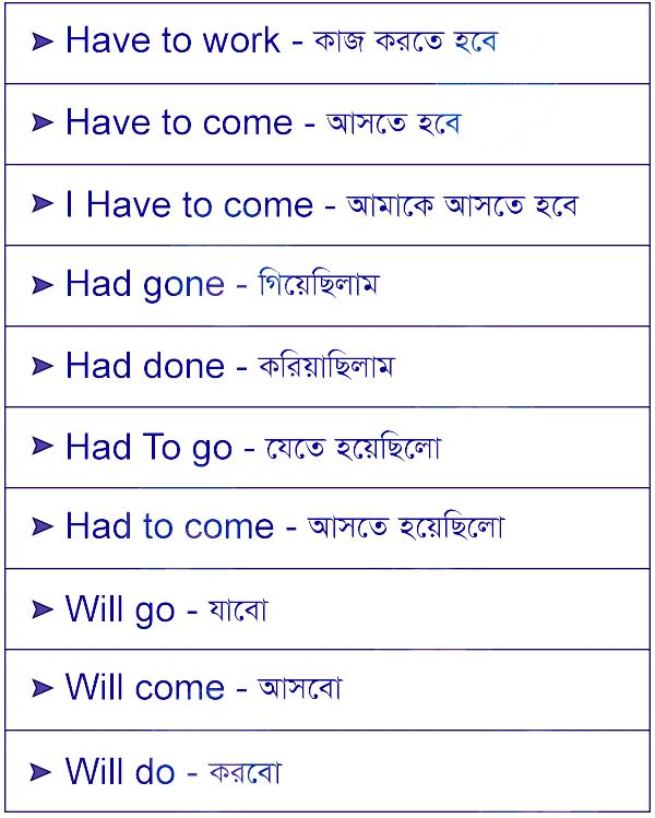 Bengali Vocabulary Words