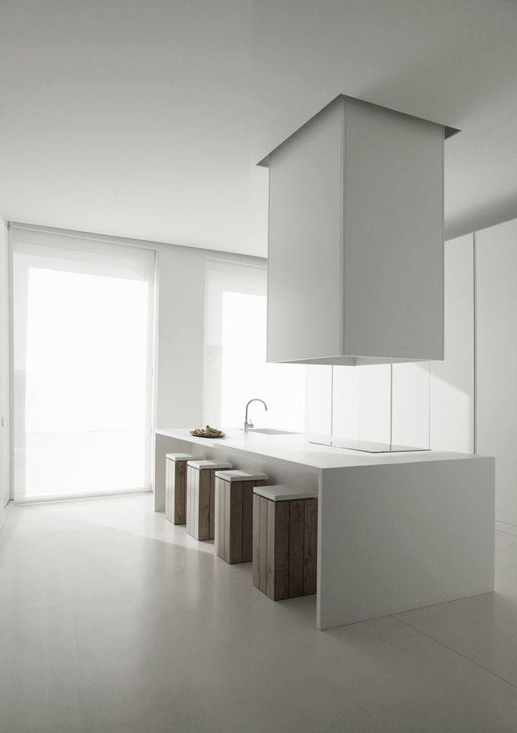 Futuristic Spacious Kitchen Island With Integrated Stools. // Futuristische  Großzügige Kücheninsel Mit Integrierten Hockern