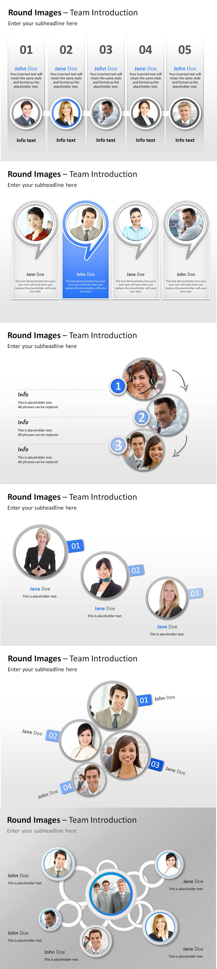 The Round Images Placeholder #PowerPoint templates are optimal for presenting people, teams and groups.